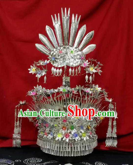 Chinese Traditional Ethnic Sliver Headwear Miao Nationality Bride Fishes Tassel Phoenix Coronet for Women