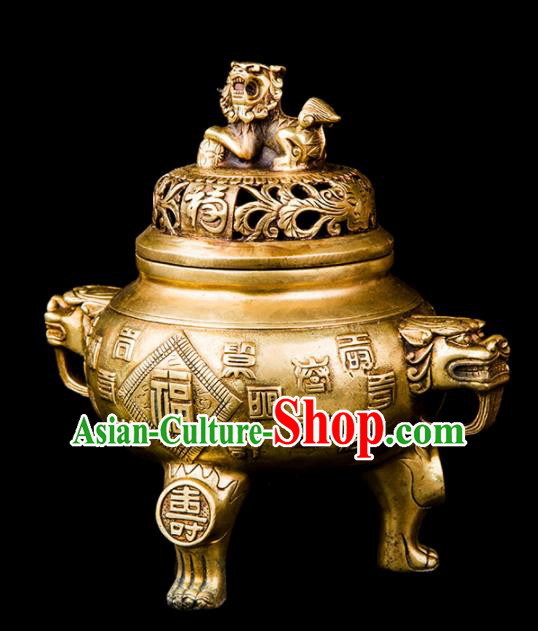 Chinese Traditional Taoism Bagua Carving Brass Incense Burner Feng Shui Items Censer Decoration