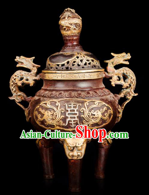 Chinese Traditional Taoism Bagua Carving Dragon Brass Incense Burner Feng Shui Items Censer Decoration