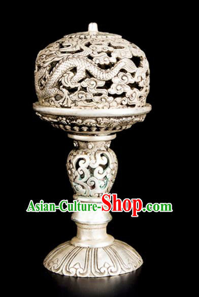 Chinese Traditional Taoism Bagua Carving Dragons Cupronickel Incense Burner Feng Shui Items Brass Censer Decoration