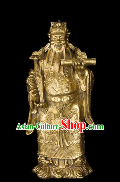 Chinese Traditional Feng Shui Items Taoism Bagua Brass Lucky God Statue Decoration