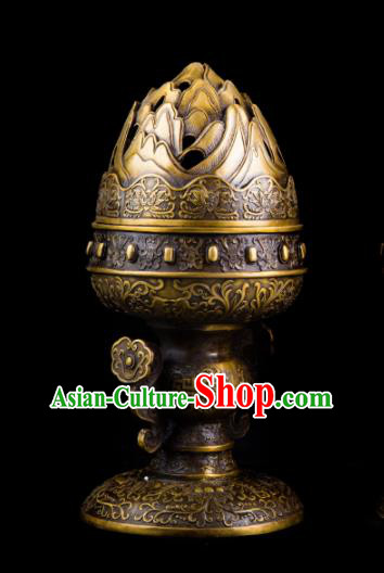 Chinese Traditional Taoism Bagua Brass Fire Incense Burner Feng Shui Items Censer Decoration