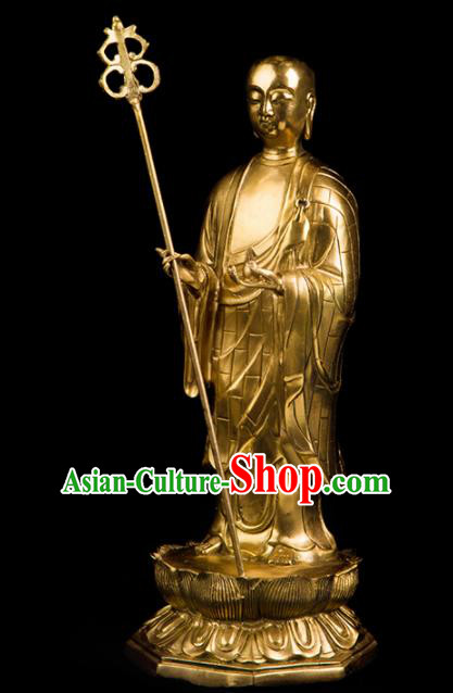 Chinese Traditional Feng Shui Items Brass Ksitigarbha Bodhisattva Statue Decoration