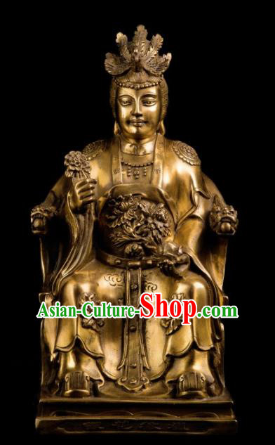 Chinese Traditional Feng Shui Items Taoism Bagua Decoration Brass Queen Mother Statue