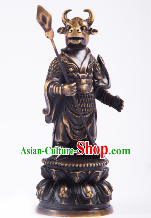 Chinese Traditional Feng Shui Items Taoism Bagua Brass Chinese Zodiac Ox Statue Decoration