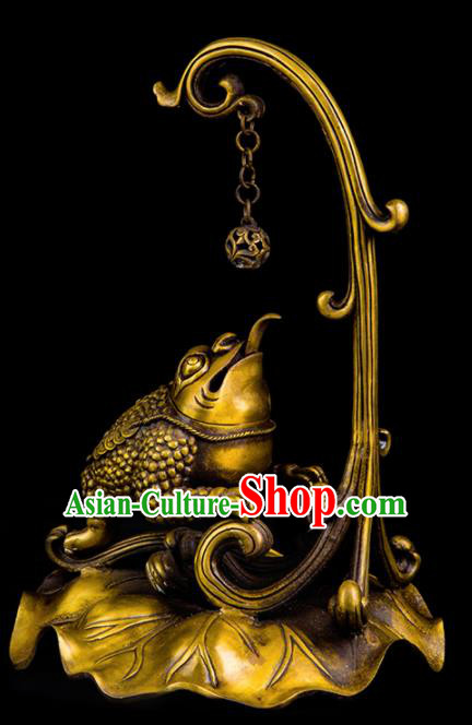 Chinese Traditional Taoism Bagua Brass Toad Incense Burner Feng Shui Items Censer Decoration