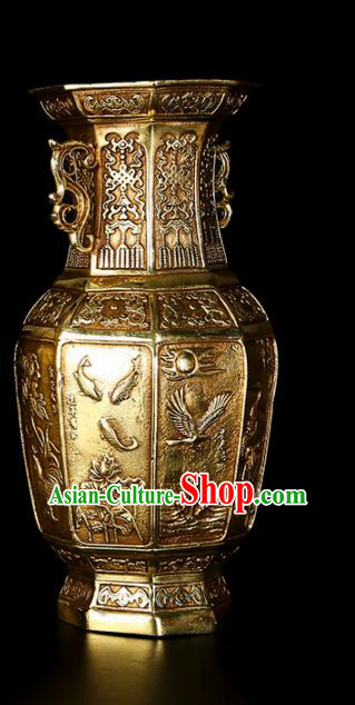 Chinese Traditional Feng Shui Items Taoism Bagua Brass Carving Crane Vase Decoration
