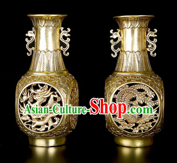 Chinese Traditional Feng Shui Items Taoism Bagua Brass Carving Dragon Phoenix Vase Decoration