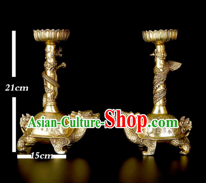 Chinese Traditional Feng Shui Items Taoism Bagua Brass Carving Dragon Phoenix Candelabrum Decoration