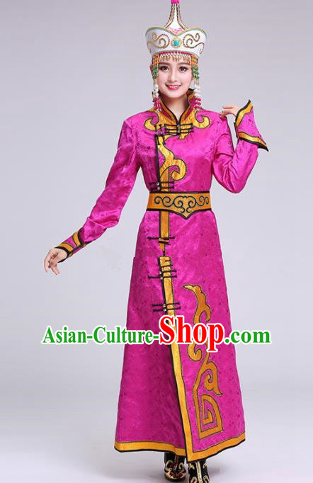 Chinese Traditional Mongolian Ethnic Princess Rosy Dress Mongol Nationality Folk Dance Costumes for Women