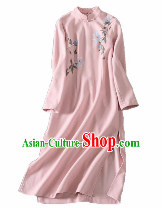 Asian Chinese Traditional Cheongsam Classical Tang Suit Pink Qipao Dress for Women