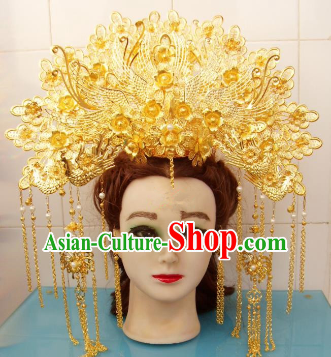 Chinese Traditional Goddess Hair Accessories Ancient Princess Hairpins Golden Flowers Phoenix Coronet for Women