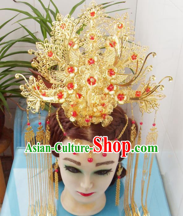 Chinese Traditional Goddess Red Flowers Phoenix Coronet Hairpins Ancient Princess Hair Accessories for Women