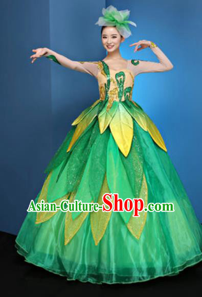 Chinese Traditional Chorus Green Bubble Dress Opening Dance Modern Dance Costume for Women
