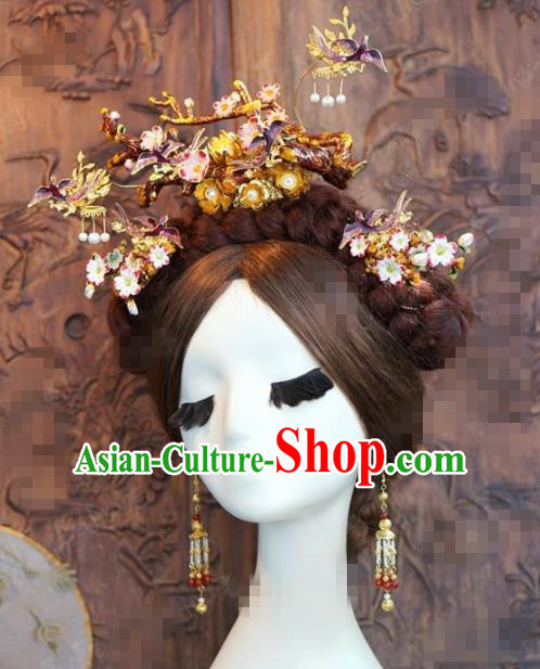 Chinese Traditional Handmade Purple Birds Phoenix Coronet Ancient Hairpins Hair Accessories Complete Set for Women