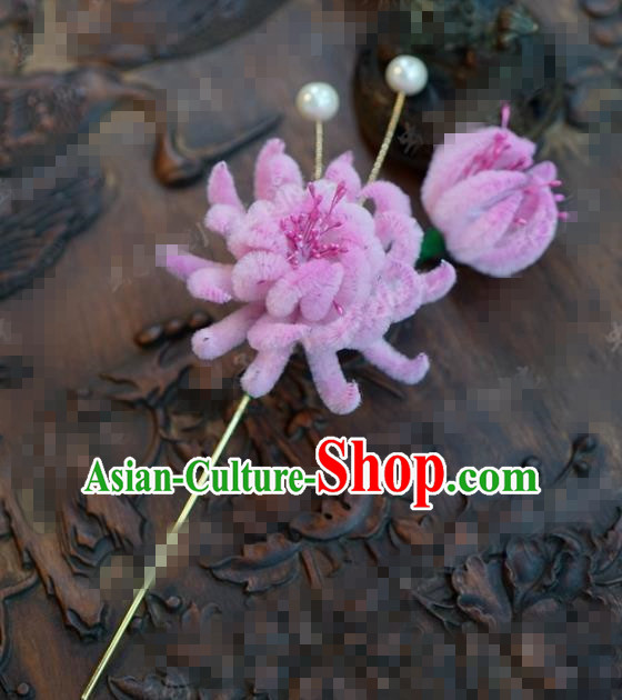 Chinese Traditional Hair Accessories Ancient Palace Pink Velvet Chrysanthemum Hairpins Headwear for Women