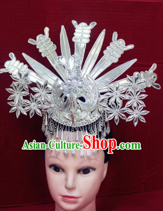 Traditional Chinese Hair Accessories Miao Nationality Sliver Flowers Phoenix Coronet Ethnic Female Hairpins for Women
