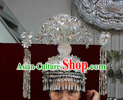 Traditional Chinese Ethnic Wedding Phoenix Coronet Hair Accessories Miao Nationality Bride Hairpins for Women