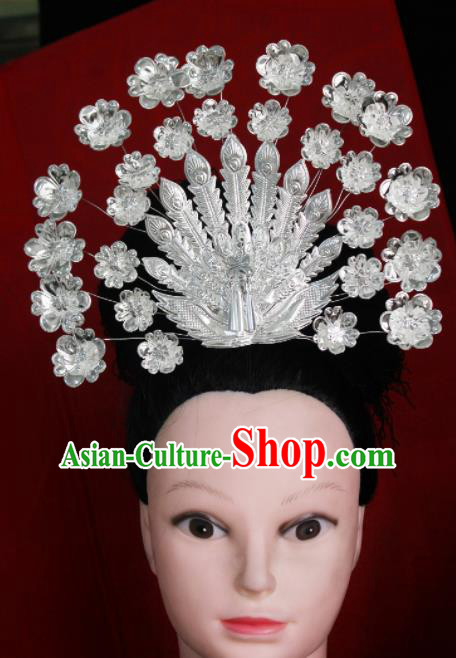 Chinese Traditional Ethnic Wedding Phoenix Coronet Hair Accessories Miao Nationality Bride Hairpins for Women