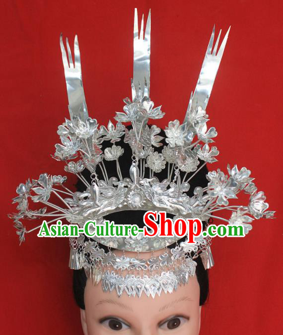 Chinese Traditional Ethnic Wedding Sliver Phoenix Coronet Miao Nationality Bride Hairpins for Women