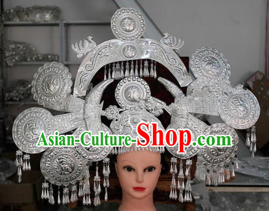 Chinese Traditional Ethnic Princess Wedding Sliver Phoenix Coronet Miao Nationality Bride Hairpins for Women