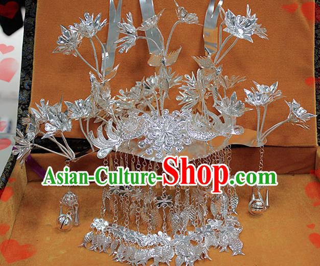 Chinese Traditional Ethnic Miao Nationality Wedding Bride Hairpins Phoenix Coronet for Women