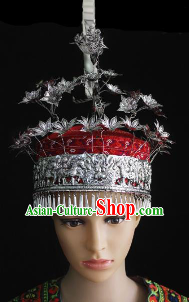 Chinese Traditional Ethnic Miao Nationality Bride Phoenix Coronet Wedding Bride Hair Accessories for Women