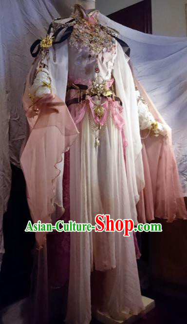 Chinese Traditional Cosplay Princess White Costume Ancient Peri Swordswoman Dress for Women