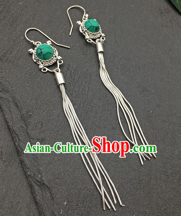 Chinese Traditional Tibetan Ethnic Kallaite Sliver Long Tassel Ear Accessories Zang Nationality Earrings for Women