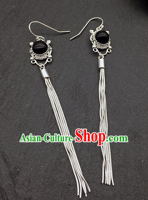 Chinese Traditional Tibetan Ethnic Black Sliver Long Tassel Ear Accessories Zang Nationality Earrings for Women