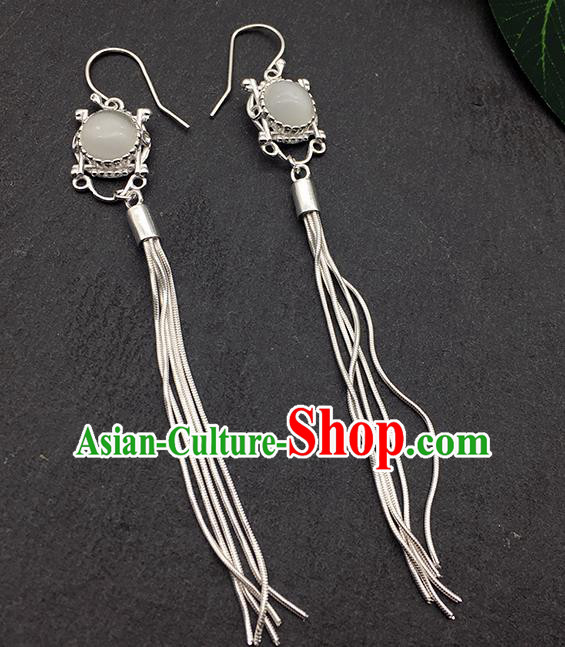 Chinese Traditional Tibetan Ethnic Opal Sliver Long Tassel Ear Accessories Zang Nationality Earrings for Women