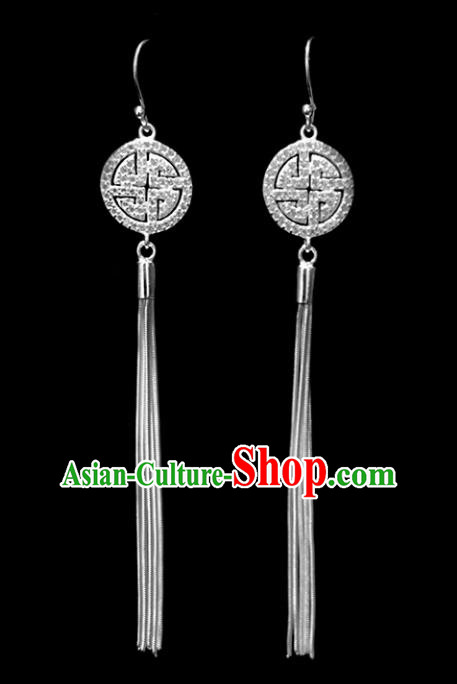Chinese Traditional Tibetan Ethnic Sliver Long Tassel Ear Accessories Zang Nationality Earrings for Women