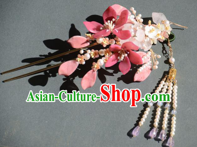 Traditional Chinese Hanfu Pink Peach Blossom Tassel Hair Clip Hair Accessories Ancient Princess Hairpins for Women