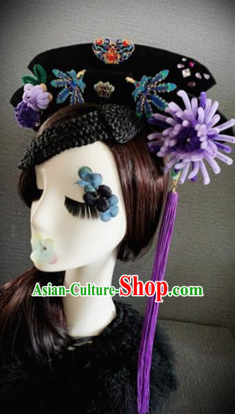 Traditional Chinese Ancient Palace Purple Velvet Chrysanthemum Hair Accessories Qing Dynasty Queen Headwear for Women
