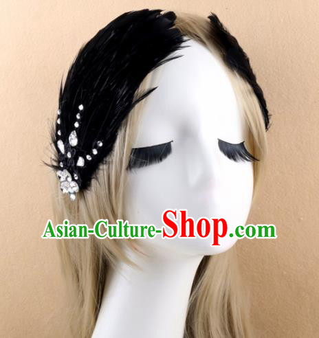 Top Grade Baroque Princess Black Feather Hair Claw Headwear Wedding Bride Hair Accessories for Women