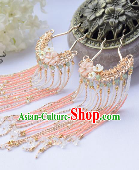 Chinese Ancient Princess Hairpins Beads Tassel Hair Clip Traditional Hanfu Hair Accessories for Women