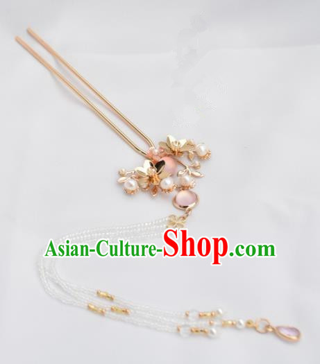 Chinese Ancient Princess Palace Pink Crystal Hair Clip Hairpins Traditional Handmade Hanfu Hair Accessories for Women
