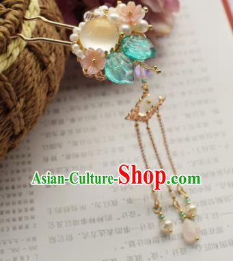 Chinese Ancient Palace Opal Hair Clip Princess Hairpins Traditional Handmade Hanfu Hair Accessories for Women