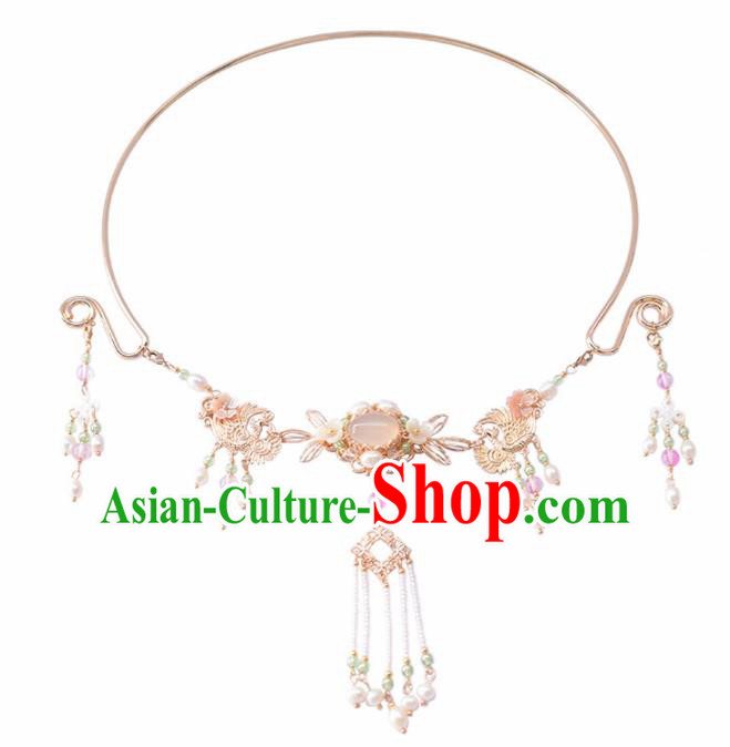 Handmade Chinese Hanfu Rose Chalcedony Tassel Necklace Traditional Ancient Princess Necklet Accessories for Women