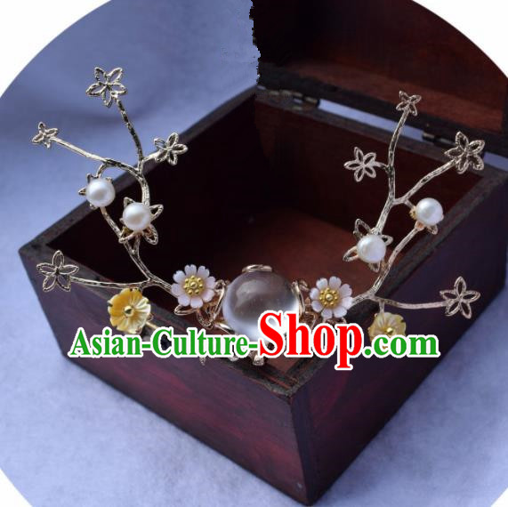 Chinese Ancient Palace Hair Clip Princess Opal Hairpins Traditional Handmade Hanfu Hair Accessories for Women
