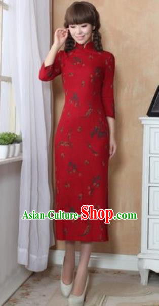 Chinese Traditional Tang Suit Costume National Red Cheongsam Qipao Dress for Women