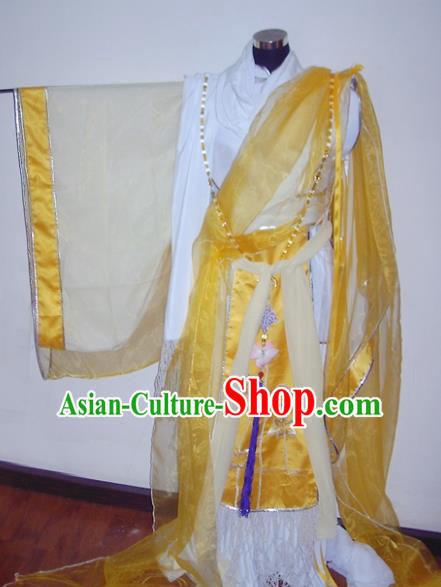 Traditional Chinese Cosplay Taoist Priest Yellow Hanfu Clothing Ancient Swordsman Royal Highness Embroidered Costume for Men