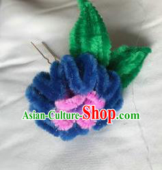Traditional Chinese Qing Dynasty Navy Velvet Chrysanthemum Hairpins Handmade Ancient Palace Hair Accessories for Women