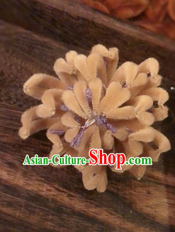 Traditional Chinese Qing Dynasty Palace Velvet Chrysanthemum Hairpins Handmade Ancient Manchu Lady Hair Accessories for Women