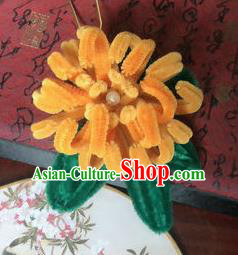Traditional Chinese Qing Dynasty Yellow Velvet Chrysanthemum Hairpins Handmade Ancient Palace Hair Accessories for Women