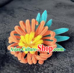 Traditional Chinese Ancient Qing Dynasty Orange Velvet Chrysanthemum Hairpins Handmade Palace Hair Accessories for Women
