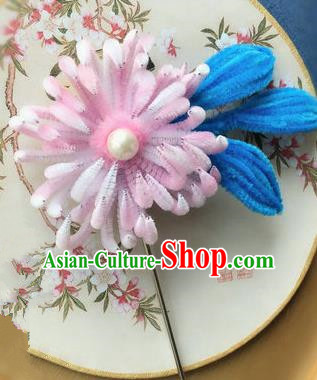 Traditional Chinese Ancient Qing Dynasty Pink Velvet Chrysanthemum Hairpins Handmade Palace Hair Accessories for Women