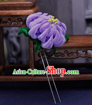 Traditional Chinese Handmade Qing Dynasty Purple Velvet Chrysanthemum Hairpins Ancient Imperial Consort Hair Accessories for Women