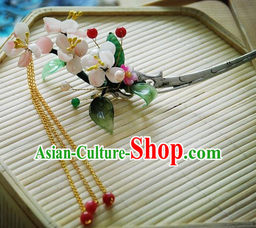 Handmade Chinese Ancient Princess Pink Peach Blossom Hairpins Tassel Hair Clip Headwear Hair Accessories for Women