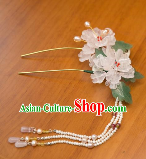 Chinese Handmade Hanfu Pearls Tassel Hairpins Lotus Hair Clip Traditional Ancient Princess Hair Accessories for Women